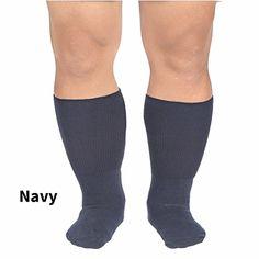 Men's Bariatric Cotton Dress Socks - Navy - Medium ** Visit the image link more details.