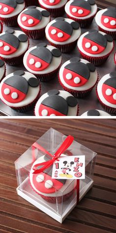 mickey mouse cupcake for aaden's birthday party!