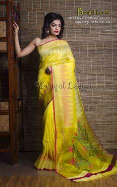 Pure Handloom Linen Silk Saree in Bright Yellow Indian Attire, Indian Wear, Indian Outfits, Cotton Saree, Silk Sarees, Saree Blouse Patterns, Elegant Saree, Fancy Sarees, Designer Dresses