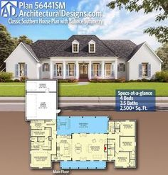 Plan Classic Southern House Plan with Balance Symmetry Lovely Nails lovely nails zebulon nc prices House Plans One Story, One Story Homes, New House Plans, Dream House Plans, Story House, 2200 Sq Ft House Plans, One Level House Plans, Brick House Plans, Single Story Homes