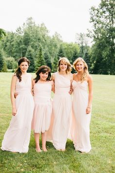 Pretty pastel pink bridesmaids {Photo by Joel Bedford Photography via Project Wedding}