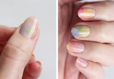 Water colour nail manicure tutorial