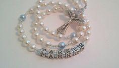 Personalized Swarovski White and Blue Pearl by myrosarygarden, $35.00