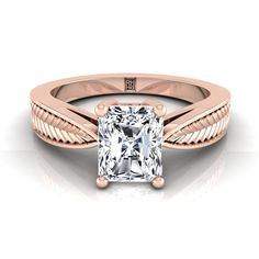 Classic 4 Prong Radiant Cut Diamond Engagement Ring With Leaf Texture Design In Yellow Gold Radiant Cut Engagement Rings, Rose Gold Engagement Ring, Leaf Texture, Texture Design, Radiant Cut Diamond, Bracelet Watch, Rings For Men, Bling, Wedding Rings