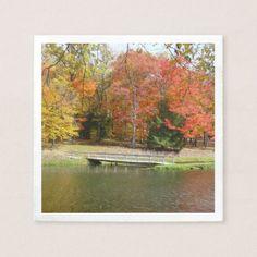 Seven Springs Fall Bridge III Autumn Landscape Paper Napkin - spring gifts style season unique special cyo