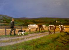 """Bringing the Cows Home by Martin Driscoll 24""""x32"""" Oil on Board"""