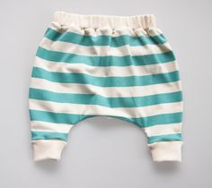 Hand Printed Organic Cotton Baby Slouch Pants - Turquoise Stripes