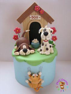 Hunde mit Hundehütte - eigentlich Kuchendeko - geht aber auch mit Fimo zu machen