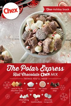 The Polar Express™ Hot Chocolate Chex™ Mix - Fill up your cup with some delicious Polar Express™ Hot Chocolate Chex™ Mix this holiday season - Holiday Snacks, Christmas Snacks, Christmas Cooking, Holiday Recipes, Christmas Recipes, Christmas Movie Night, Christmas Candy, Chocolate Chex Mix, Hot Chocolate