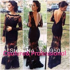 Real Sample Sexy Black Lace V Back Mermaid See Through Evening Dresses With Long Sleeves Women Prom Party Dresses Lace DY0905 $151.25
