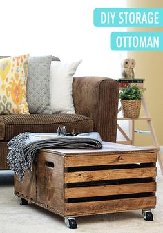 Wooden Crates Become A DIY Storage Ottoman