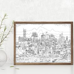 Manchester Art Prints - Manchester Skyline (Black & White) - Unique Art from Manchester Artists Manchester City Centre, Manchester Art, Black And White Illustration, Make Art, All Print, Unique Art, Vintage World Maps, Skyline, Frame