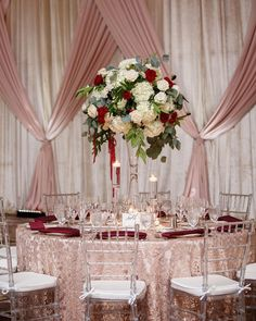 wedding reception clear chair texture linen tall centerpiece greenery white hydrangea rose red wedding centerpieces tall Elegant Fall Wedding with Burgundy & Gold Color Palette in Florida - Inside Weddings Fall Wedding Centerpieces, Fall Wedding Flowers, Fall Wedding Colors, Flower Centerpieces, Wedding Bouquets, Wedding Decorations, Tall Centerpiece, Wedding Ideas, Centerpiece Ideas