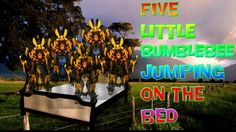 FIVE Bumblebee Jumping on the Bed - Five little Monkeys Jumping on the Bed