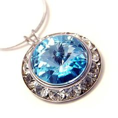Framed Aqua Swarovski Crystal Pendant Necklace Fashion Jewelry $19.99