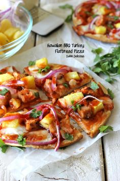 Hawaiian BBQ Turkey Flatbread Pizza
