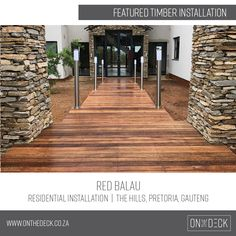 Balau timber is the decking material of choice in humid and wet environments. Outdoor Decking, Decking Material, Timber Deck, Pretoria, Stairs, Red, Products, Home Decor, Stairway