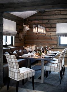 Modern rustic design, wood furnishings, plaid upholstered seating, wood wallcovering, pendant lighting- minus the taxidermy Chalet Design, Cabin Homes, Log Homes, Home Improvement Loans, Cabin Interiors, Hunting Lodge Interiors, Ski Lodge Decor, Cuisines Design, Home Kitchens