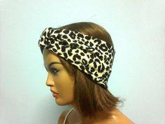 Turban headband leopard fabric headband by KnitterPrincess on Etsy