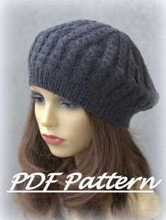 Knitting PATTERN-The Moon Cabled Beret  Adult sizes by JasnaRola