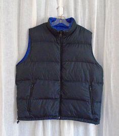 f0051046e09b Coats   Jackets · Lands End Reversible Down Puffer Vest Navy Royal Blue Zip  Pockets Men s XL 46-48