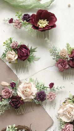Wedding accessories, flower crown, comb, wrist corsage by Leteria Bridal Flowers, Flowers In Hair, Fabric Flowers, Flower Hair Pieces, Floral Hair, Floral Crown, Diy Flower Crown, Money Bouquet, Burgundy Flowers