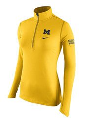 Nike Michigan Womens Tailgate Element Yellow 1/4 Zip Performance Pullover