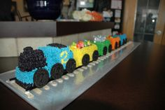 Train cake for the boy's 2nd birthday