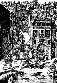 Gravure allemande représentant l'attentat perpétré contre Coligny. - Le mariage d'Henri de Navarre et de marguerite n'a fait qu'exacerber les passions et l'attentat contre l'amiral de Coligny est l'étincelle qui met le feu aux poudres. Louise et Antoine, protégés par la famille royale, échappent au massacre, ainsi que son frère Jacques de Crussol, mais son autre frère Galiot de Crussol est tué. Moins d'un mois plus tard, Louise de Clermont se convertit au catholicisme.
