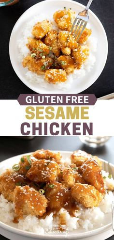 Satisfy your craving for Chinese takeout with this recipe for crispy and tender gluten free sesame chicken that s packed with flavor sesamechicken glutenfree chickendinner easy Gluten Free Recipes For Dinner, Gf Recipes, Dairy Free Recipes, Vegetarian Recipes, Dinner Recipes, Healthy Recipes, Easy Gluten Free Meals, Gluten Free Chinese Food, Sesame Recipes
