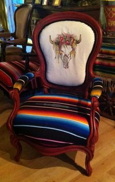 Love this hand painted canvas on serape holstered antique parlor chair by Kathy Woolley Originals!