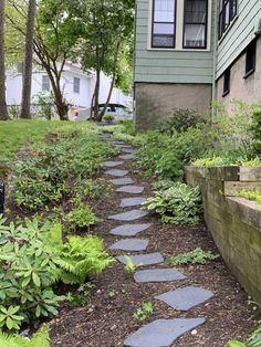 flagstone pathway Create a unique pathway, patio or landscape accent with our recycled rubber stepping stones. The irregular shape mimics real flagstone. Stepping Stone Pathway, Flagstone Pathway, Outdoor Walkway, Slate Walkway, Stone Garden Paths, Rock Walkway, Stone Pathways, Gravel Walkway, Backyard Walkway