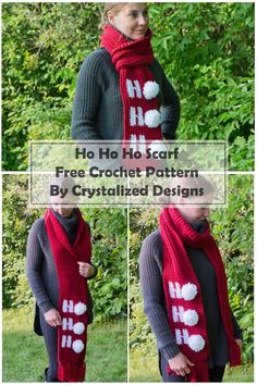 Learn how to make this Ho Ho Ho Scarf with this Christmas crochet scarf pattern. This easy crochet scarf pattern is so fun to work up! Crochet Christmas Hats, Crochet Christmas Decorations, Christmas Scarf, Christmas Crochet Patterns, Holiday Crochet, Crochet Gifts, Easy Crochet, Free Crochet, Crochet Ideas