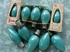 Vintage Christmas Aqua Blue Tree Light Bulbs