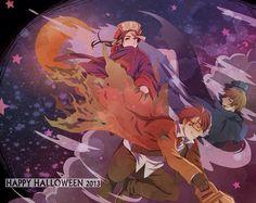 Hetalia (ヘタリア) - China, America, & England - Happy Halloween!