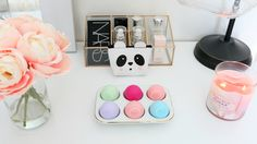 Eos lip balm, makeup storage, makeup organization