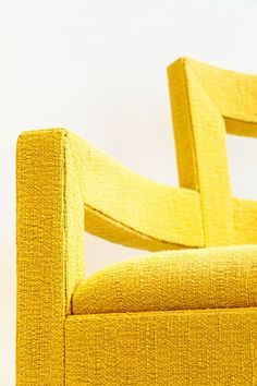 Upholstered Louvre dining in vibrant yellow Louvre, Vibrant, Dining, Yellow, Furniture, Color, Home Decor, Food, Decoration Home