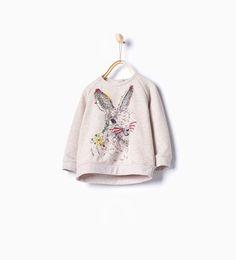 Embroidered rabbit sweatshirt-Sweatshirts-Baby girl-Baby   3 months - 3 years-KIDS   ZARA United States