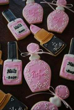 perfume and nail polish cookies- For Lovey's bday party @ the spa