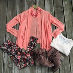 Coral cardigan Aztec tribal floral boho leggings tunic set fall winter summer outfit wardrobe fringe suede tassel boots booties set