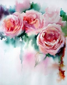 Peonies - how beautiful of a painting? Watercolor Artists, Watercolor Rose, Watercolor Print, Watercolour Painting, Watercolors, Peony Painting, Abstract Flowers, Painting Inspiration, Flower Art