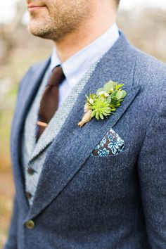 "In a nod to the groom's last name of DePino, which means ""of the pines"" in Italian, Hana Floral Design placed a small pine in his boutonnière along with a mini succulent and some wax flower. wedding groom attire A Rustic Wedding at a Connecticut Orchard Rustic Wedding Suit, Wedding Men, Summer Wedding Suits, Vintage Wedding Suits, Tweed Wedding, Blue Suit Wedding, Vintage Weddings, Groom Outfit, Fall Groom Attire"