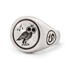 Sterling silver ring inspired by ancient signet ring designs. Solid sterling silver Oxidized matte finish Handcrafted in the USA. Purple Wedding Rings, Antique Coins, Diamond Eyes, Skull Pendant, One Ring, Signet Ring, Jewelry Branding, Precious Metals, Ring Designs