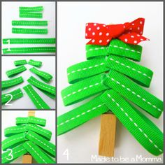 A Christmas Tree Clothespin. An easy craft for kids. Fun for gift toppers, hanging kids work, and so much more!