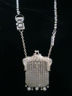 vintage silver chain purse turned into a necklace
