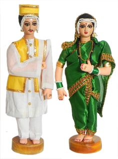 Bridal Couple from Maharashtra, India - Costume Cloth Dolls