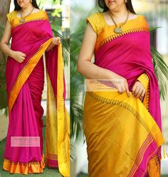 Poly Silk Yellow Saree with Matching Color silk Blouse. It contained of Printed. The Blouse which can be customized up to bust size This Unstitch Saree Length mtr including mtr Blouse. Blouse Back Neck Designs, Fancy Blouse Designs, Saree Blouse Designs, Indian Silk Sarees, Soft Silk Sarees, Cotton Saree, Pola Lengan, Indische Sarees, Woman Outfits