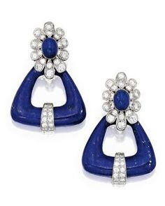 Pair of 18K white gold, lapis lazuli and diamond earrings, Van Cleef & Arpels