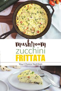 This simple mushroom zucchini frittata is full of fresh garden produce and bursting with fresh, savory flavors! | recipe via www.yourchoicenutrition.com