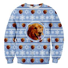 Celebrate Hanukkah with a custom ugly sweater of your pet dog, cat or any animal you have. Put your pets face on this hanukkah sweater. This will be your favorite Chanukah sweater ever! Light up the menorah, its time to celebrate Hanukkah! Hanukkah Sweater, Christmas Sweaters, Feliz Hanukkah, Hanukkah 2019, Ugly Sweater Contest, 360 Design, Christmas Animals, Fabric Panels, Comfortable Fashion